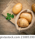 Closeup fresh organic potatoes in hemp sake bag . 23885390