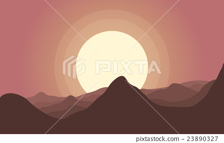 Silhouette of hill and big sun scenery 23890327