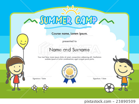 Kids Summer Camp Certificate Document Template  Stock Illustration
