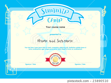 Kids summer camp document certificate template stock kids summer camp document certificate template yelopaper Image collections