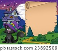 Halloween parchment with cat and house 23892509