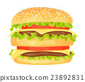 Modern flat design illustration of big hamburger 23892831