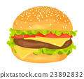 Modern flat design illustration of big hamburger 23892832