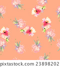Strawberry flowers seamless pattern watercolor 23898202