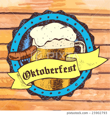 Oktoberfest vector illustration with beer mug 23902793