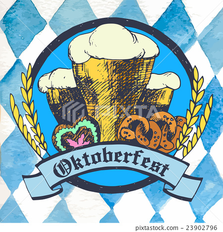 Oktoberfest vector illustration with beer glasses 23902796