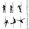Silhouette of Dancing Striptease Girl on Pole 23905512