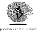 Doodle musician playing guitar and sings a song  23906429