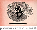Doodle musician playing guitar and sings a song  23906434