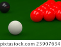 Snooker Balls on Snooker Table, 3D Rendering 23907634