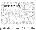 year of the cock, new year's card, vector 23909367