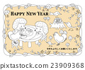 year of the cock, new year's card, vector 23909368