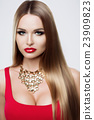 Close-up portrait of beauty girl with long hair 23909823
