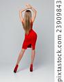 Beautiful slender woman standing backwards. Rear 23909843