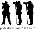 photographers with monopod silhouettes 23913615