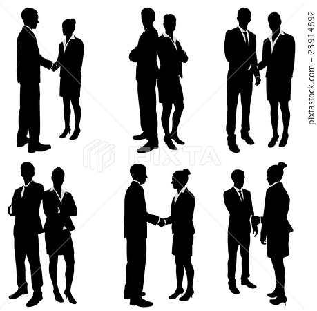 business people handshake silhouettes collection 23914892