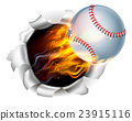 Flaming Baseball Ball Tearing a Hole in Background 23915116