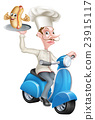 Cartoon Chef on Scooter Moped Delivering Hotdog 23915117