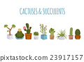 Cactuses and succulents icon set. Houseplants 23917157