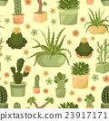 Cactuses and succulents seamless pattern.  23917171