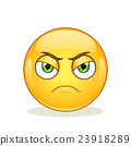 Angry emoticon on white background. 23918289