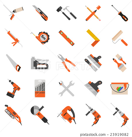 Home repair tools vector icons. 23919082