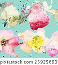 Strawberry flowers seamless pattern watercolor 23925693