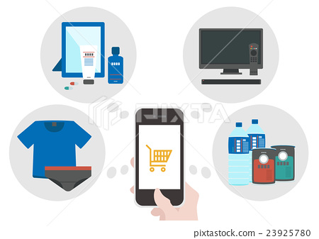 插圖素材互聯網購物智能手機 23925780