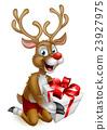 Santas Christmas Reindeer Holding a Gift 23927975