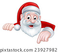 Peeking Cartoon Santa Pointing Down 23927982