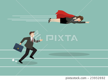 Business woman superhero fly pass his competitor 23932692