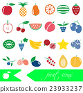 color fruit theme simple icons set eps10 23933237