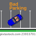 Bad parking. Cars top view. 23933701