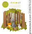 Forest landscape background with woodland animals 23937012