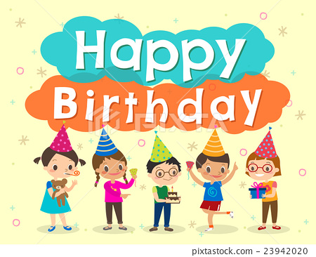 Happy Birthday Party Kids Cartoon Design Template Stock Illustration 23942020 Pixta