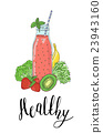 Bottle smoothies with fruits, vegetables and the 23943160