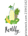 Bottle smoothies with fruits, vegetables and the 23943162