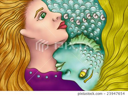 女孩 人魚 海洋 23947654