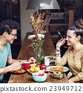 Couple Eating Food Feeding Sweet Concept 23949712
