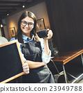 Cafe Barista Blackboard Waiter Waiteress Cheerful Concept 23949788