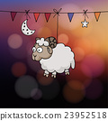 Eid al Adha card. Hand drawn sheep, party flags, 23952518