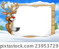 Cartoon Reindeer Christmas Sign Background 23953729