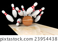 Bowling strike, scattered skittle and bowling ball 23954438