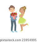 Boy Giving Flower Bouquet To A Girl 23954995