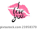 i Love you kiss red lips vector pink 23958370