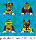 Hipster animals set dog, Large group of dog breeds 23958614