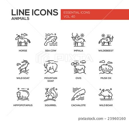 Animals - line design icons set 23960160