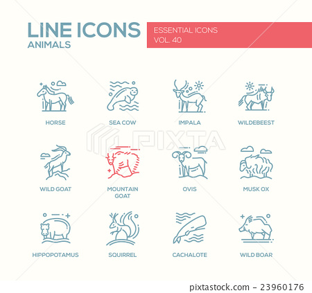 Animals - line design icons set 23960176