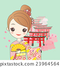 japanese girl with Torii gates 23964564