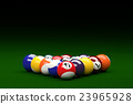 Pool Balls on Pool Table Background, 3D Rendering 23965928